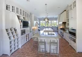 brick floor tile flooring in modern white kitchen flooring ideas