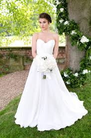 pleated a line ivory strapless spring simple long wedding dress