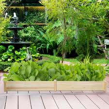 Giantex Raised Garden Bed Planter Wooden Elevated Vegetable Planter Kit Box Grow For Patio Deck Balcony Outdoor Gardening Natural 96