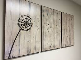 Dandelion Wood Wall Art Home Decor Sign Carved Hanging Rustic