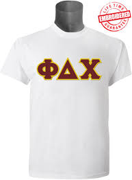 Phi Delta Chi Men s Greek Letter T Shirt White EMBROIDERED with