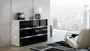 kommode shine sideboard 120 cm schwarz hochglanz weiß led beleuchtung modern design tv möbel anrichte sigma