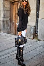 Black Wedge Boots And White Skinny Pants