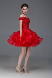short red homecoming dress off shoulder lace details tiered skirt