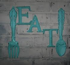 FREE SHIPPING Kitchen Wall Decor Aqua Fork By Theshabbyshak 4724