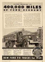 100 High Mileage Trucks 1939 Ad Ford V8 Truck Dump Economy SH Bacon