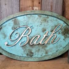Shabby Chic BATH SIGN Rustic Home Decor Bathroom Aqua Aged Distressed Cottage Primitive Photo Prop Gift