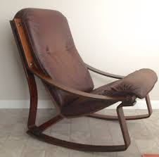 Sam Maloof Rocking Chair Auction by Westnofa Danish Modern Bent Wood Rocking Chair Leather Cushion