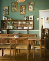 Mid Century Modern Dining Room Love Everything The Danish Set With China Cabinet Dutch Door And Paint By Number Paintings On Green