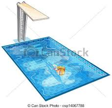 A Girl Swimming At The Pool With Diving Board