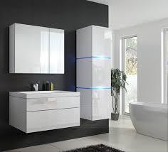 badmöbel set 1 new weiß hochglanz keramik waschbecken badezimmer led beleuchtung badezimmermöbel keramikbecken