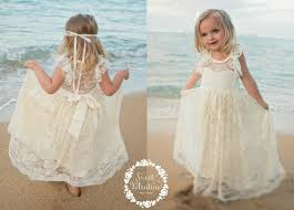 Lace Girl Dress Flower Dresses Country Cream Toddler Ivory Rustic