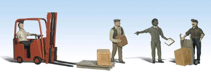 Woodland Scenics A2192 Workers With Forklift Figures - N Gauge