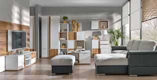 wohnzimmer komplett set c lefua 8 teilig farbe weiß nussfarben