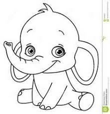 Outlined Baby Elephant For Coloring Books