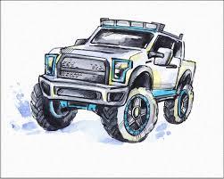 100 Big Truck Paper Amazoncom 7Dots Art Monster Watercolor Art Print 8x10 On