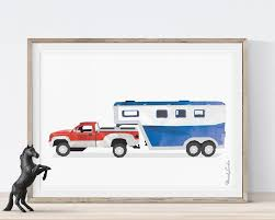 100 Easley Truck Farm Pickup Horse Trailer Print Transportation Wall Art Print