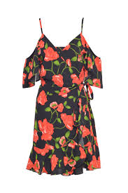 anna cold shoulder dress in black floral