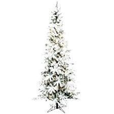 Skinny Christmas Tree Lit Pencil Flocked Slim 7 5 Prelit