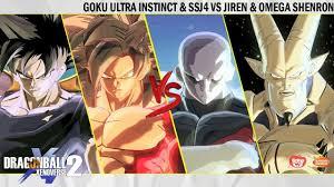Goku Ultra Instinct SSJ4 VS Jiren Omega Shenron