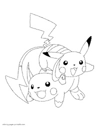 Pokemon Pikachu Coloring Pages Free And Ash
