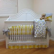 yellow and gray plaid and floral crib set BonnyBundle