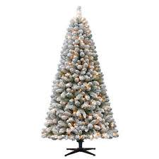 Holiday Time 65ft Flocked Pre Lit Crystal Pine Green Artificial Christmas Tree