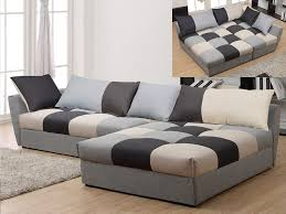 canapé méridien canapé angle convertible en tissu gris ou chocolat romane