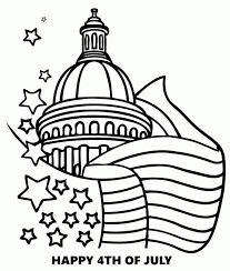 White House And USA Flag Coloring Pages