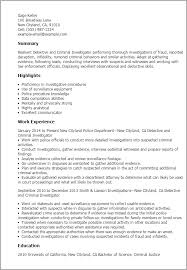 Resume Templates Detective And Criminal Investigator