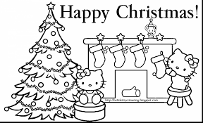Terrific Hello Kitty Christmas Coloring Pages With Color And