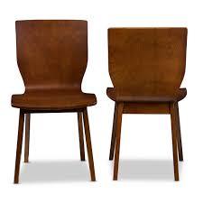 Baxton Studio Elsa Mid-century Modern Scandinavian Style Dark Walnut Bent  Wood Dining Chair