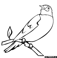 Perched Robin Coloring Page