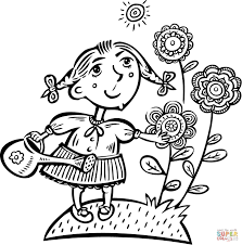 Click The Little Girl Watering Her Flowers Coloring Pages