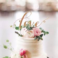 Cake Topper For Wedding Anniversary Engagement Gold Love Rustic Romantic