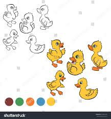 Coloring Page Color Me Duck Five Little Cute Ducklings Swim And Stand