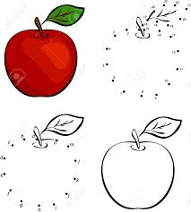 Cartoon Pomme Rouge Vector Illustration Coloriage Et Point à Point