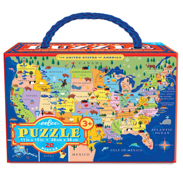 Eeboo United States Jigsaw Puzzle - 20 Piece