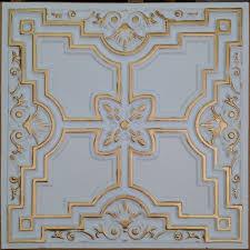 pl16 faux tin ceiling tile white gold color 3d restaurant cafe