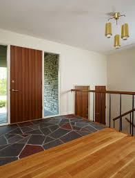wood floor tiles entry modern with wood grain mid century modern