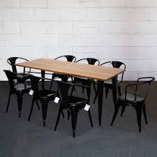 Tolix Style Dining Sets Rectangular Table & Chairs Black Metal Wood ... Empty Table Chair Restaurant Boost Color Stock Photo Edit Now Ding Set For Dinner Room Small Cherry Style Contemporary Fniture Kids And Cafe Bistro Tables Chairs Droughtrelieforg Modern Industrial Bar Stools Rustic And Flash 36inch Round With Four Products Vector Table Chair Two Flat Icon Isolated Fniture Side Stool Supply Discount Find More For Sale At Up To 90 Coffee Terrace With Classic Shop Blur