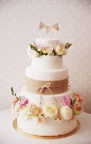 Garden Burlap Wedding Cake With Pastel Flowers