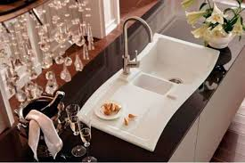 Chic Kitchen With White Porcelain Kitchen Sink Featured Mounted