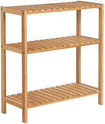 songmics badezimmerregal badregal küchenregal schuhregal bambus standregal 60 x 26 x 66 cm ideal für bad wohnzimmer flur küche balkon bcb33y