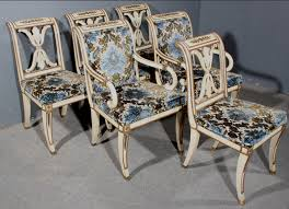 This Is A Very Sophisticated Set Of French Empire Style Painted And Gilded Dining Chairs Take Notice The Extremely Elegant Correct Design