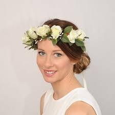 Ivory Floral Bridal Crown Flower Rose Wedding Rustic Headband Head Wreath Hair Piece