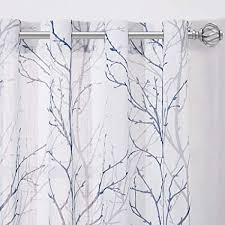 nicetown weißer voile vorhang mit zweigemuster leinentextur gardinen mit ösen vorhänge halbtransparent für schlafzimmer deko ösenschal 2er set h