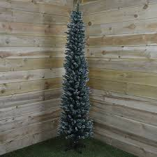 Flocked Christmas Trees Uk by 200cm Ambassador Christmas Tree Flocked Pencil Pine Slim Tree 200