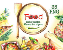 Food watercolor clipart Food illustration Food painting Pizza clip art Food Digital Clipart Pizza Party Pizza