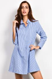 casual blue white stripe shirt dress oasap com
